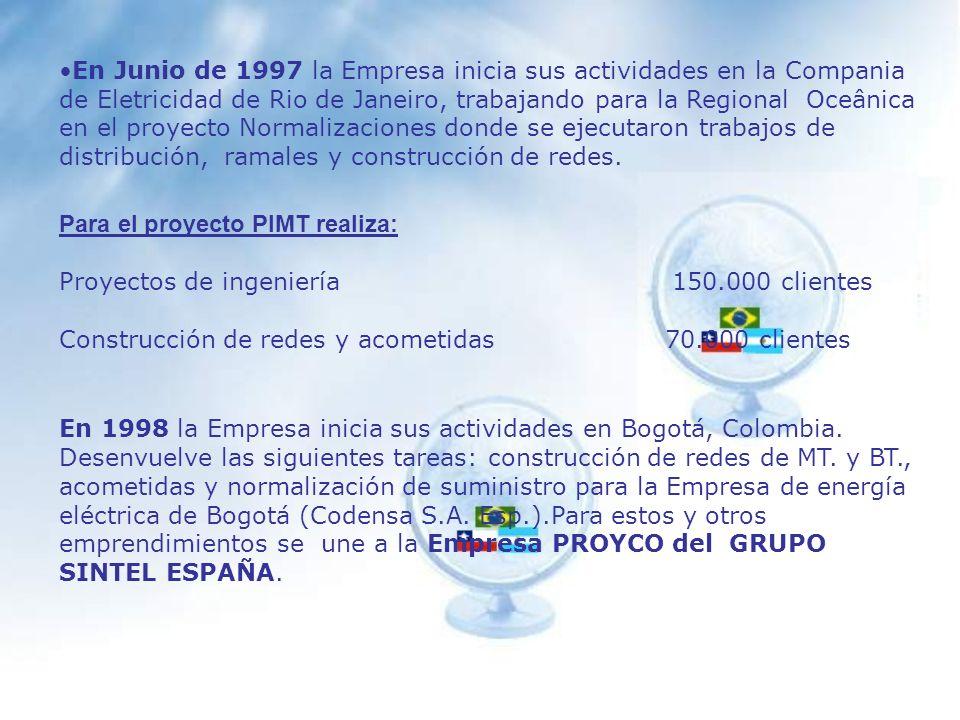 En el año 1996, inicio sus funciones como contratista de Ingeniería Inmobiliaria Manso de Velasco S.A., realizando trabajos de Iluminación Pública, redes aéreas y subterráneas.