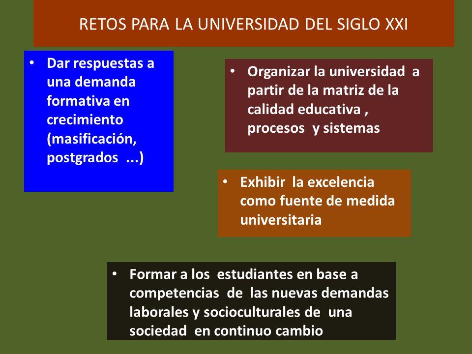 RETOS PARA LA UNIVERSIDAD DEL SIGLO XXI Dar respuestas a una demanda formativa en crecimiento (masificación, postgrados...) Organizar la universidad a