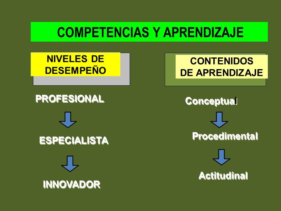 PROFESIONAL ESPECIALISTA INNOVADOR Conceptual Procedimental Actitudinal CONTENIDOS DE APRENDIZAJE CONTENIDOS DE APRENDIZAJE COMPETENCIAS Y APRENDIZAJE