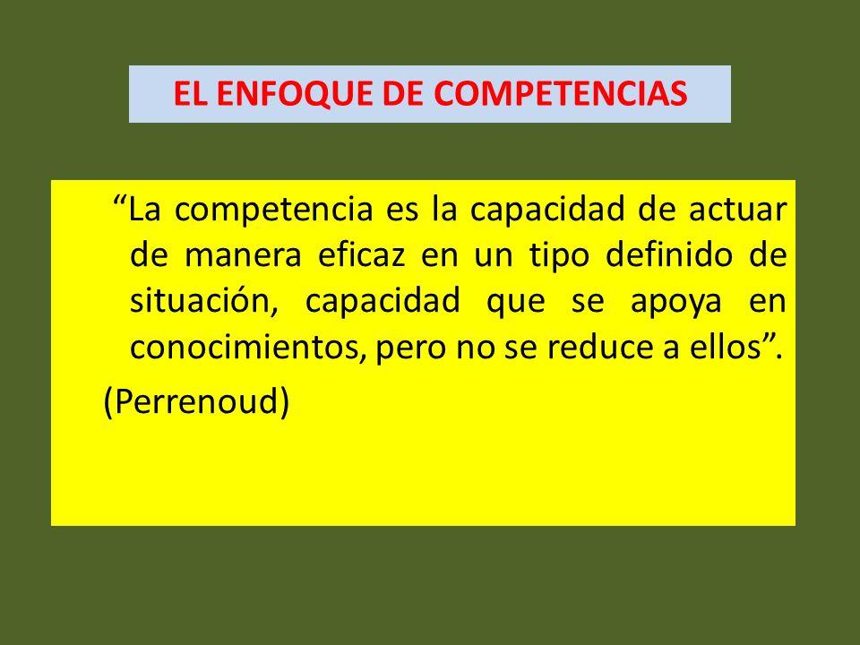 La competencia es la capacidad de actuar de manera eficaz en un tipo definido de situación, capacidad que se apoya en conocimientos, pero no se reduce
