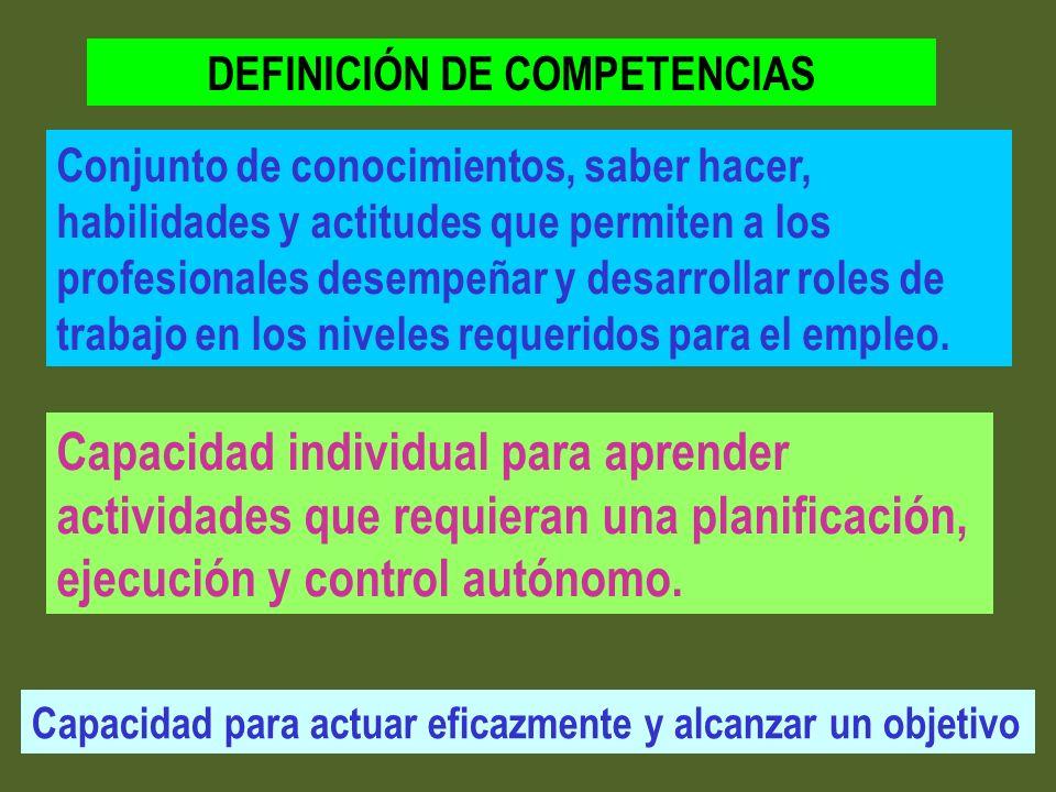 Capacidad individual para aprender actividades que requieran una planificación, ejecución y control autónomo. Conjunto de conocimientos, saber hacer,