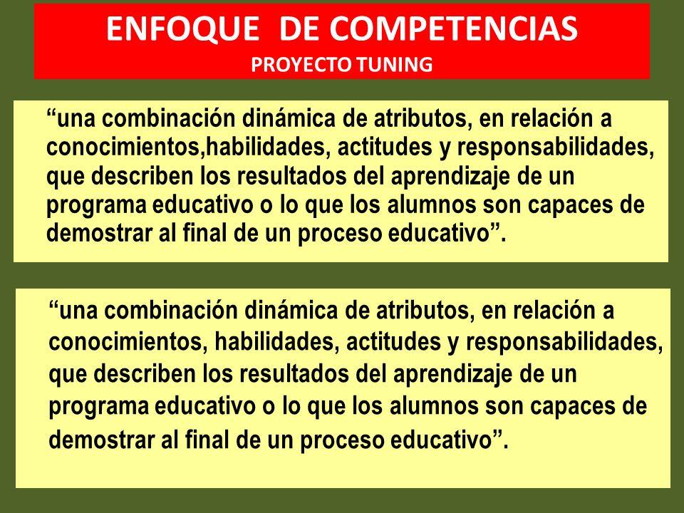ENFOQUE DE COMPETENCIAS PROYECTO TUNING una combinación dinámica de atributos, en relación a conocimientos,habilidades, actitudes y responsabilidades,