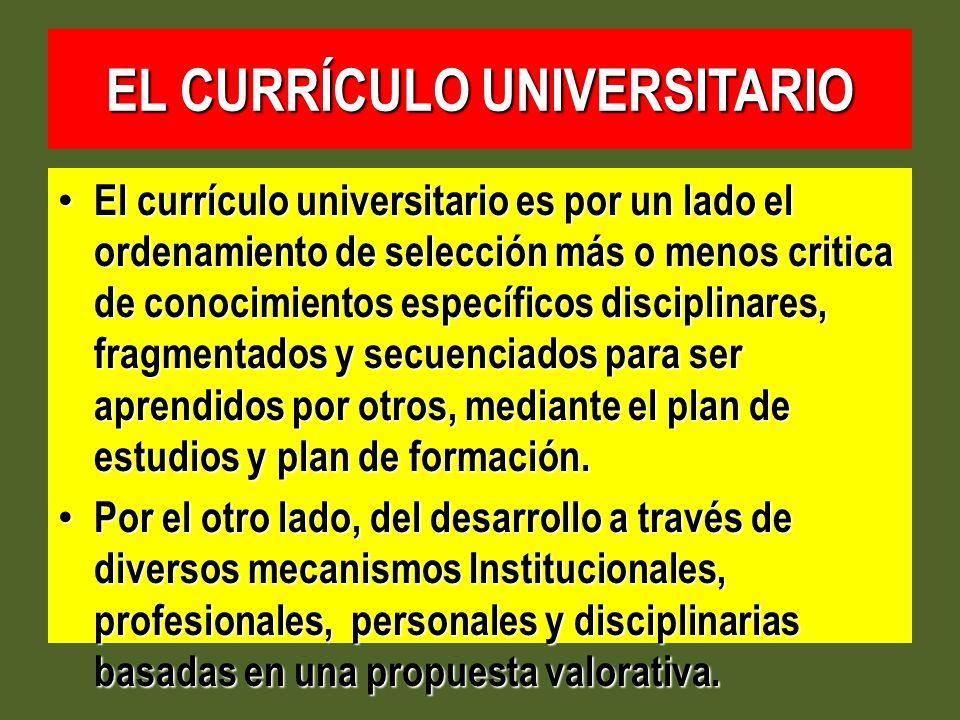 EL CURRÍCULO UNIVERSITARIO El currículo universitario es por un lado el ordenamiento de selección más o menos critica de conocimientos específicos dis
