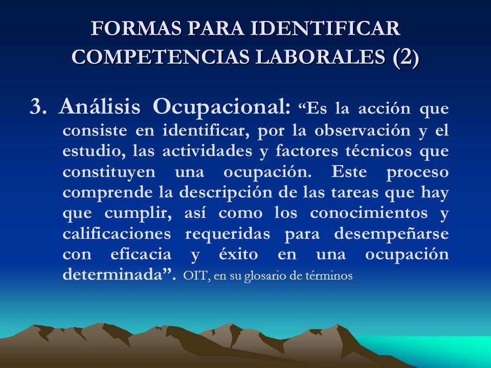 FORMAS PARA IDENTIFICAR COMPETENCIAS LABORALES (2 ) 3.