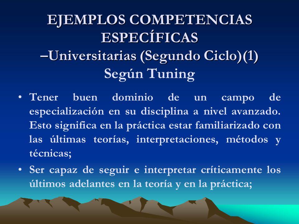 EJEMPLOS COMPETENCIAS ESPECÍFICAS –Universitarias (Segundo Ciclo)(1) EJEMPLOS COMPETENCIAS ESPECÍFICAS –Universitarias (Segundo Ciclo)(1) Según Tuning Tener buen dominio de un campo de especialización en su disciplina a nivel avanzado.