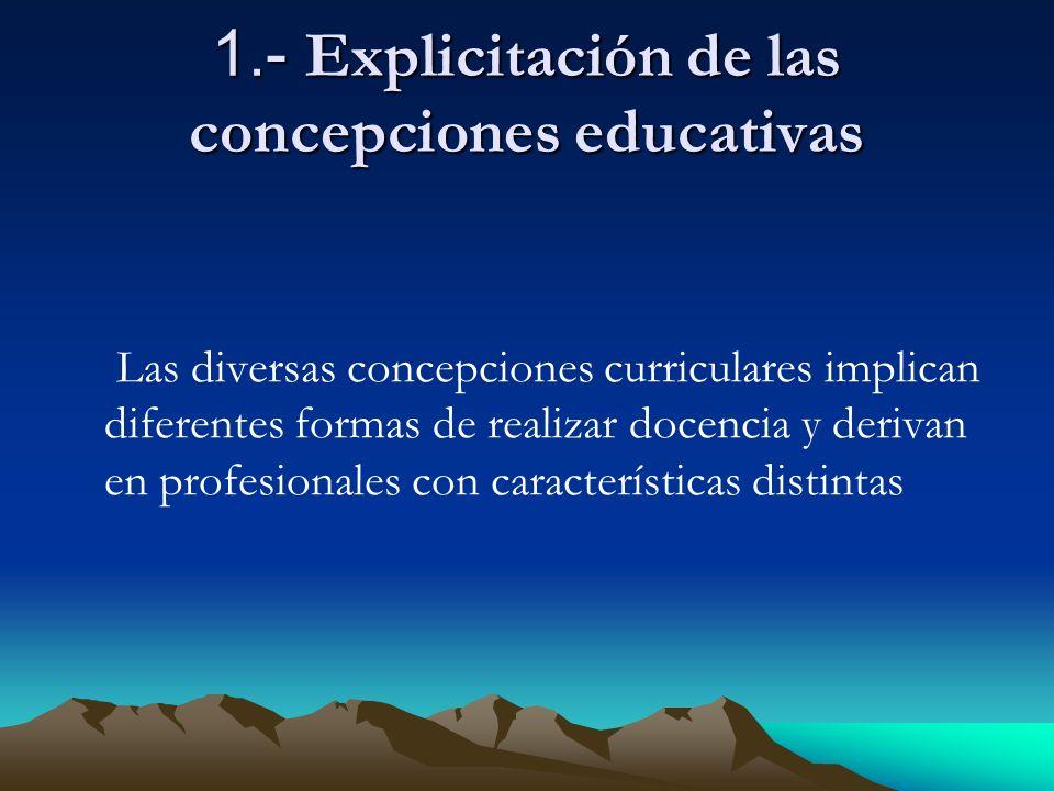 1.- Explicitación de las concepciones educativas Las diversas concepciones curriculares implican diferentes formas de realizar docencia y derivan en profesionales con características distintas