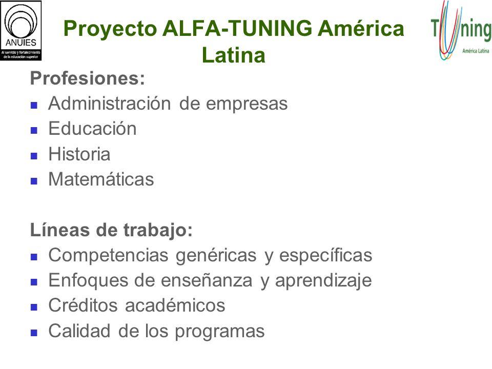 Proyecto ALFA-TUNING América Latina Profesiones: Administración de empresas Educación Historia Matemáticas Líneas de trabajo: Competencias genéricas y