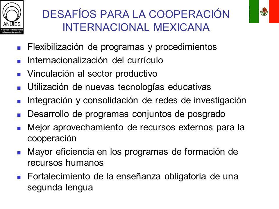 DESAFÍOS PARA LA COOPERACIÓN INTERNACIONAL MEXICANA Flexibilización de programas y procedimientos Internacionalización del currículo Vinculación al se