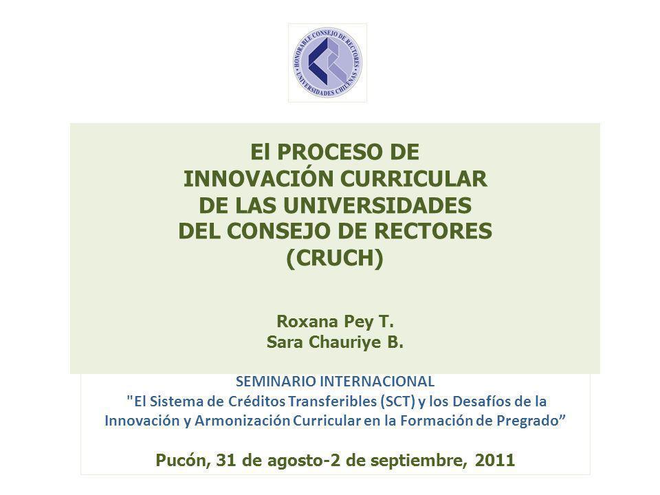 El PROCESO DE INNOVACIÓN CURRICULAR DE LAS UNIVERSIDADES DEL CONSEJO DE RECTORES (CRUCH) Roxana Pey T. Sara Chauriye B. SEMINARIO INTERNACIONAL