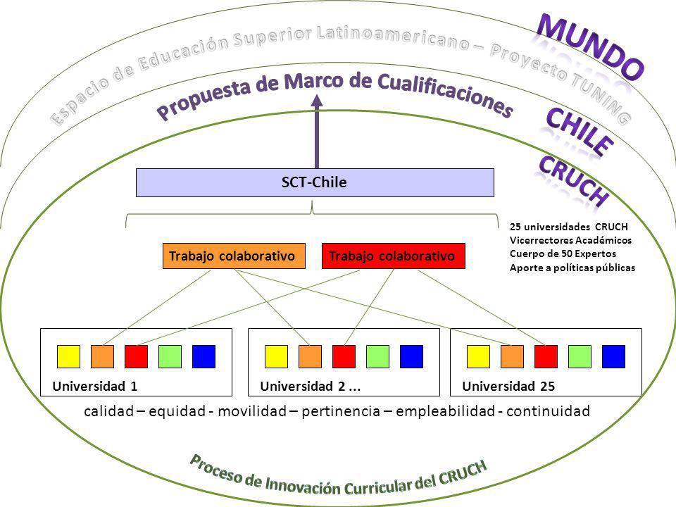 Universidad 1Universidad 2...Universidad 25 Trabajo colaborativo SCT-Chile 25 universidades CRUCH Vicerrectores Académicos Cuerpo de 50 Expertos Aport