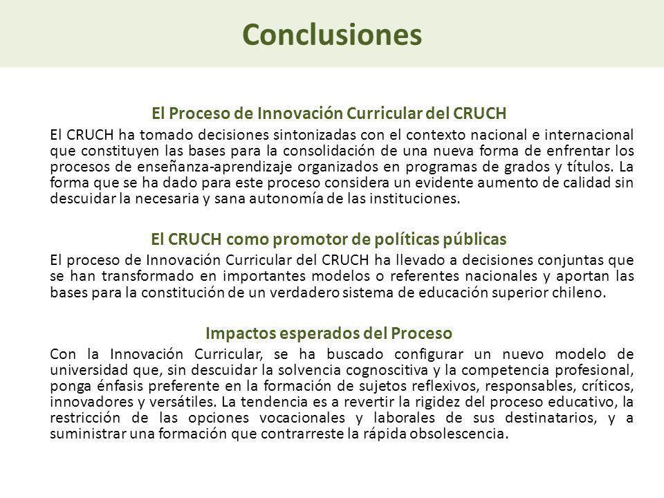 Conclusiones El Proceso de Innovación Curricular del CRUCH El CRUCH ha tomado decisiones sintonizadas con el contexto nacional e internacional que con