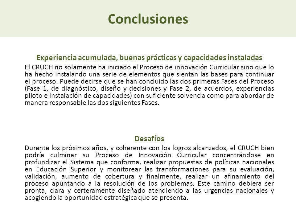 Conclusiones Experiencia acumulada, buenas prácticas y capacidades instaladas El CRUCH no solamente ha iniciado el Proceso de innovación Curricular si
