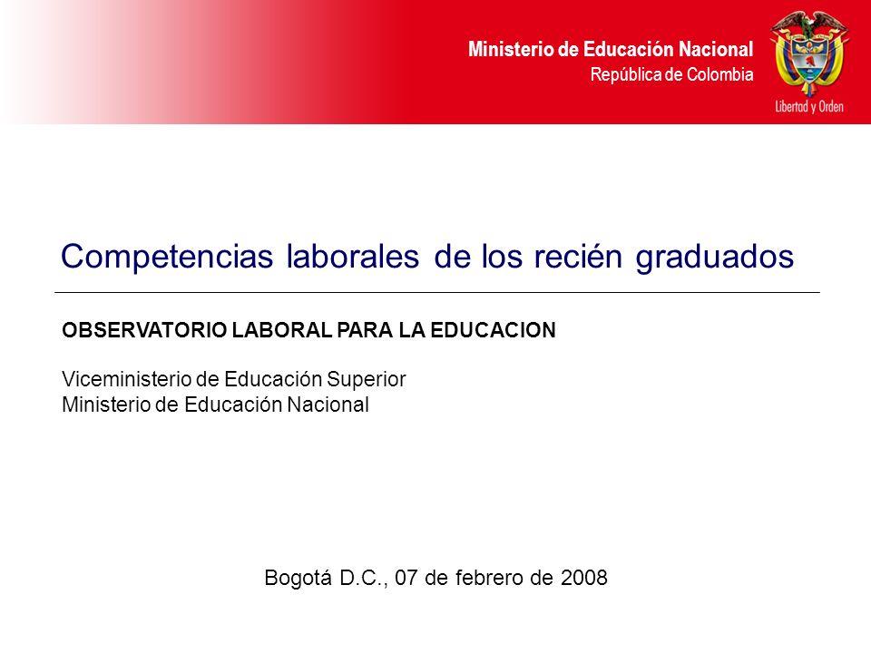 Ministerio de Educación Nacional República de Colombia Conclusiones La competencia valorada como más importante es la formación en valores y principios éticos, le sigue la competencia para trabajar en equipo.