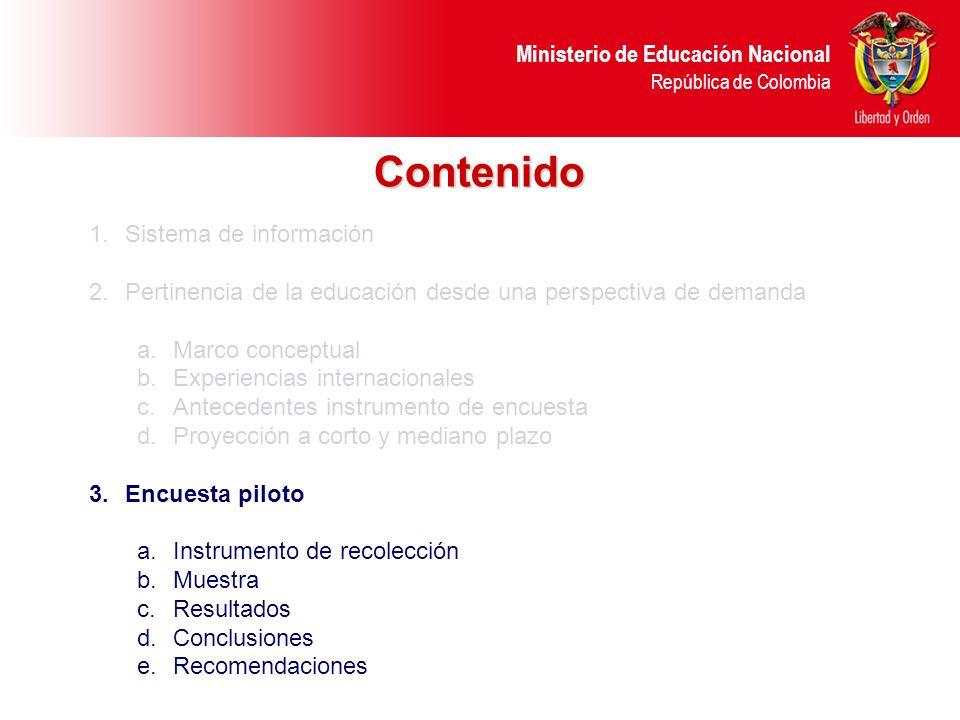 Ministerio de Educación Nacional República de Colombia Contenido 1.Sistema de información 2.Pertinencia de la educación desde una perspectiva de deman