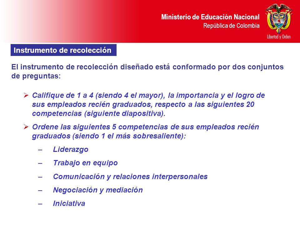 Ministerio de Educación Nacional República de Colombia Instrumento de recolección El instrumento de recolección diseñado está conformado por dos conju