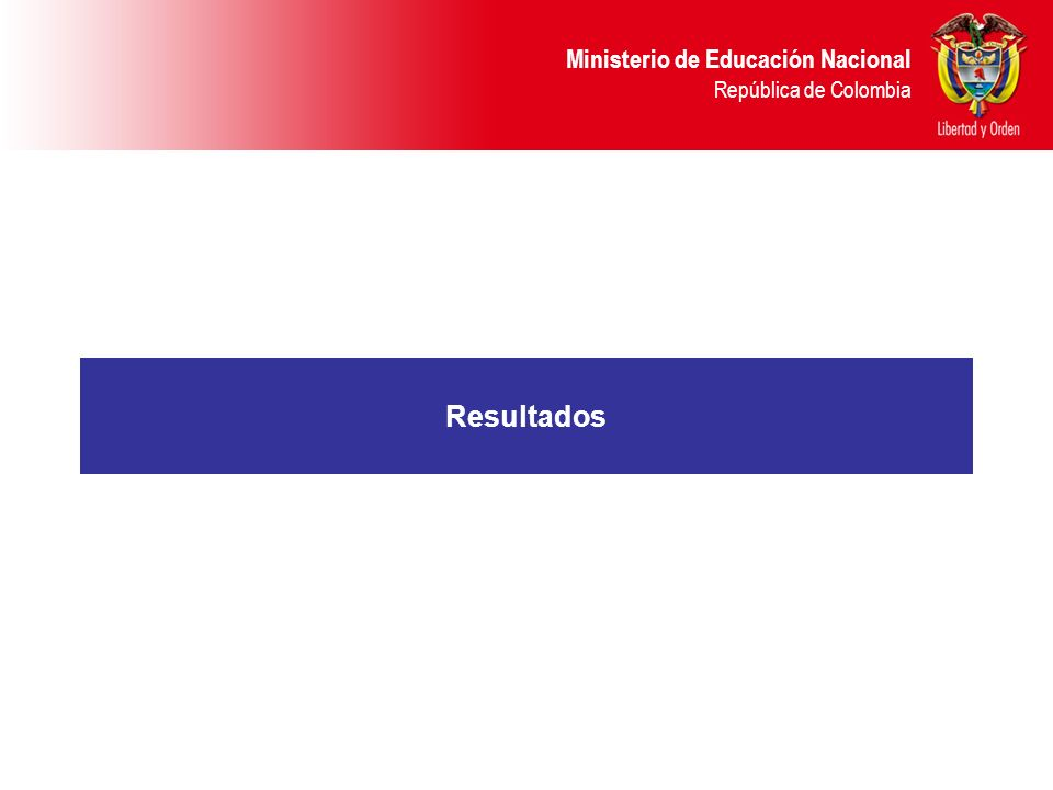 Ministerio de Educación Nacional República de Colombia Resultados