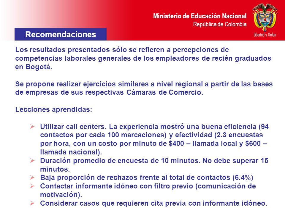 Ministerio de Educación Nacional República de Colombia Recomendaciones Los resultados presentados sólo se refieren a percepciones de competencias laborales generales de los empleadores de recién graduados en Bogotá.