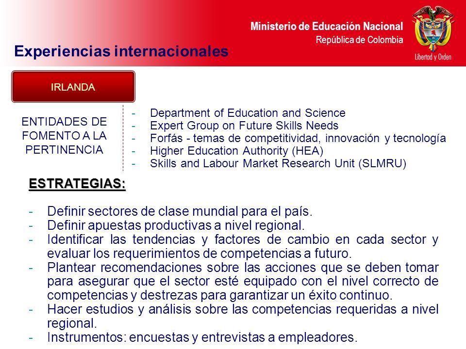 Ministerio de Educación Nacional República de Colombia Experiencias internacionales -Department of Education and Science -Expert Group on Future Skill