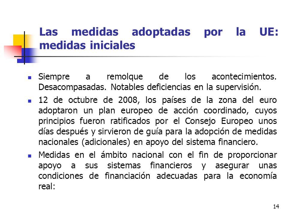 14 Las medidas adoptadas por la UE: medidas iniciales Siempre a remolque de los acontecimientos. Desacompasadas. Notables deficiencias en la supervisi