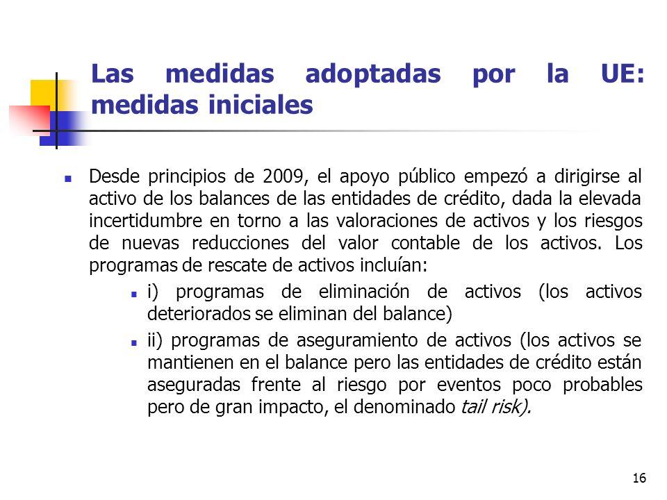 16 Las medidas adoptadas por la UE: medidas iniciales Desde principios de 2009, el apoyo público empezó a dirigirse al activo de los balances de las entidades de crédito, dada la elevada incertidumbre en torno a las valoraciones de activos y los riesgos de nuevas reducciones del valor contable de los activos.