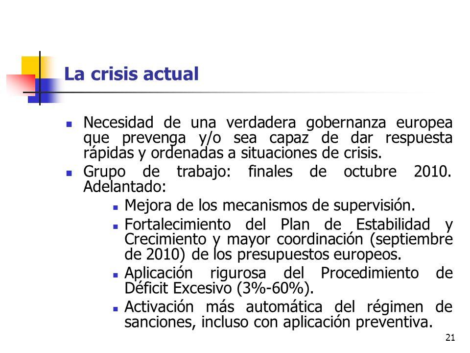 21 La crisis actual Necesidad de una verdadera gobernanza europea que prevenga y/o sea capaz de dar respuesta rápidas y ordenadas a situaciones de crisis.