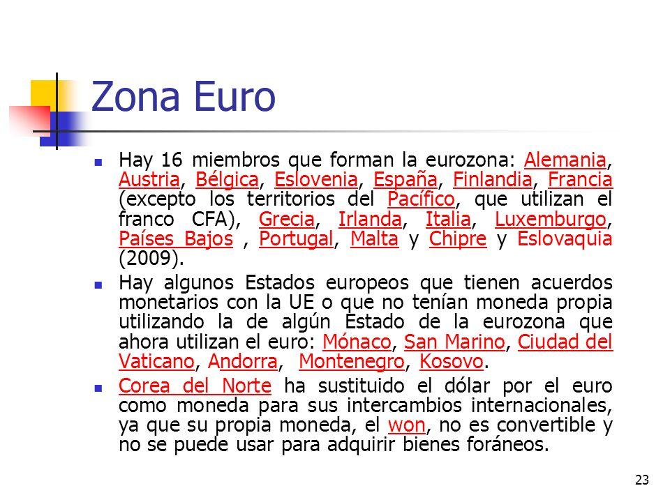 Zona Euro Hay 16 miembros que forman la eurozona: Alemania, Austria, Bélgica, Eslovenia, España, Finlandia, Francia (excepto los territorios del Pacíf