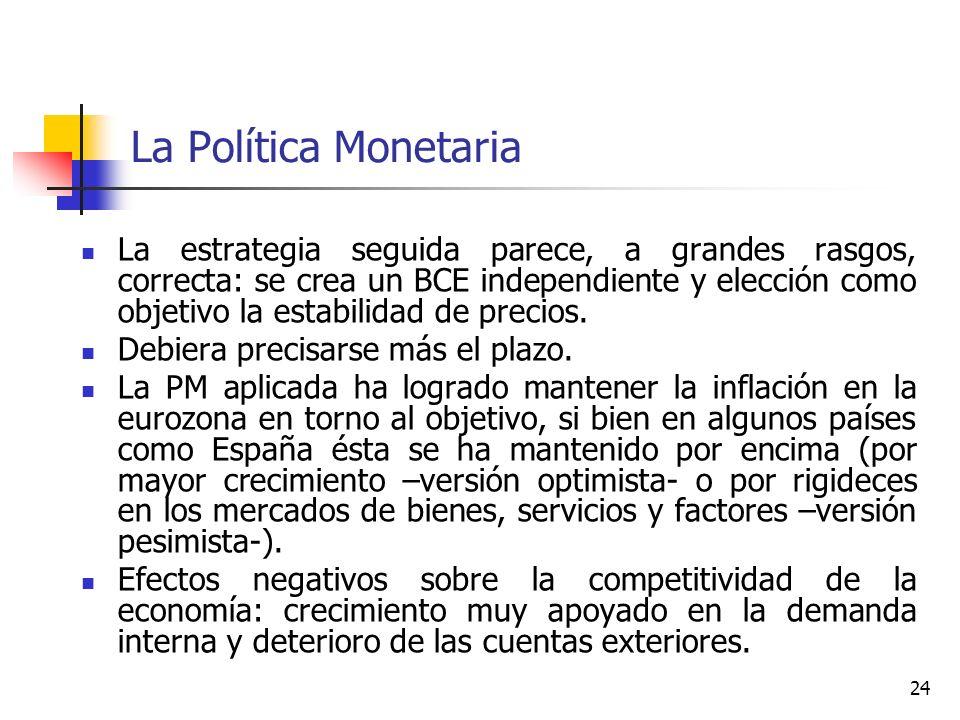 La Política Monetaria La estrategia seguida parece, a grandes rasgos, correcta: se crea un BCE independiente y elección como objetivo la estabilidad d
