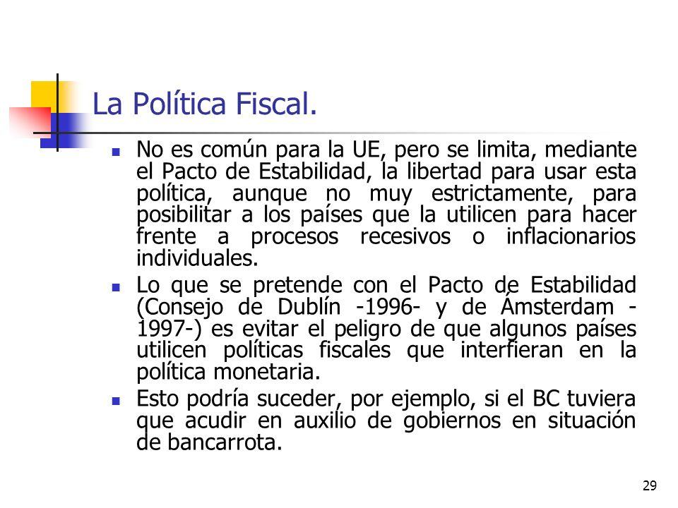 La Política Fiscal. No es común para la UE, pero se limita, mediante el Pacto de Estabilidad, la libertad para usar esta política, aunque no muy estri