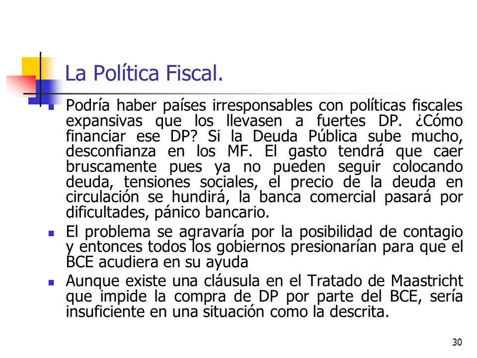 La Política Fiscal. Podría haber países irresponsables con políticas fiscales expansivas que los llevasen a fuertes DP. ¿Cómo financiar ese DP? Si la