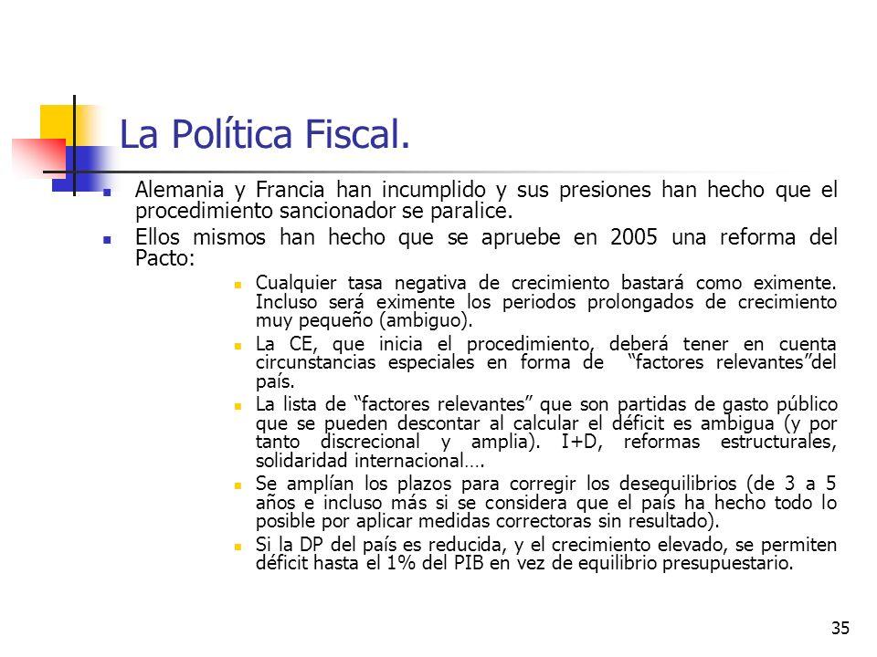 La Política Fiscal. Alemania y Francia han incumplido y sus presiones han hecho que el procedimiento sancionador se paralice. Ellos mismos han hecho q