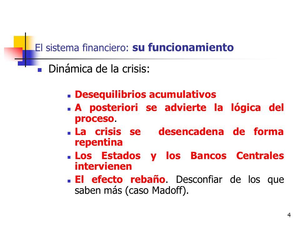 4 El sistema financiero: su funcionamiento Dinámica de la crisis: Desequilibrios acumulativos A posteriori se advierte la lógica del proceso. La crisi