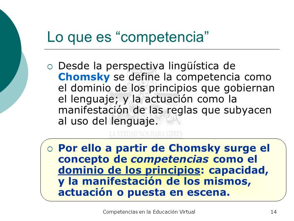 Competencias en la Educación Virtual14 Lo que es competencia Desde la perspectiva lingüística de Chomsky se define la competencia como el dominio de l