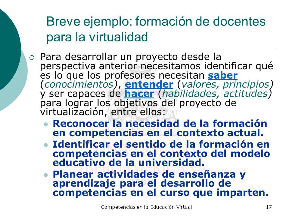 Competencias en la Educación Virtual17 Breve ejemplo: formación de docentes para la virtualidad Para desarrollar un proyecto desde la perspectiva ante