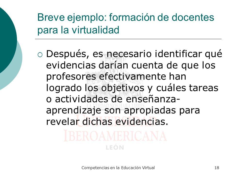 Competencias en la Educación Virtual18 Breve ejemplo: formación de docentes para la virtualidad Después, es necesario identificar qué evidencias daría
