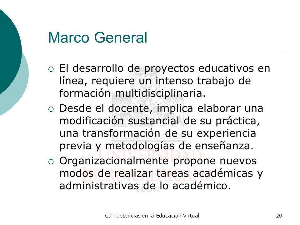 Competencias en la Educación Virtual20 Marco General El desarrollo de proyectos educativos en línea, requiere un intenso trabajo de formación multidis