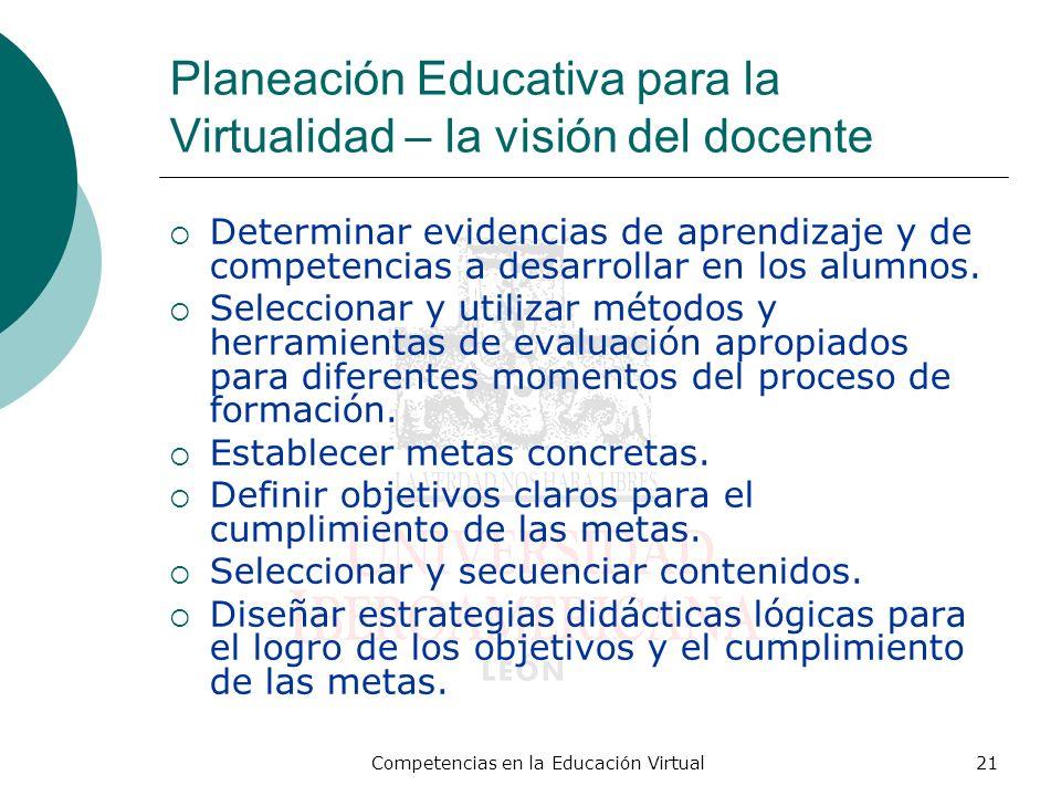 Competencias en la Educación Virtual21 Planeación Educativa para la Virtualidad – la visión del docente Determinar evidencias de aprendizaje y de comp