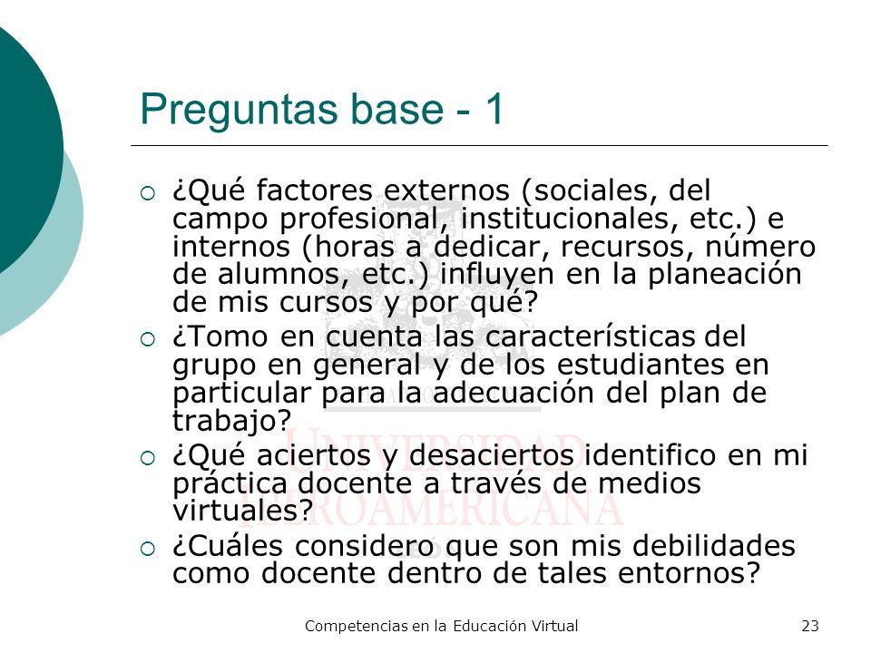 Competencias en la Educación Virtual23 Preguntas base - 1 ¿Qué factores externos (sociales, del campo profesional, institucionales, etc.) e internos (