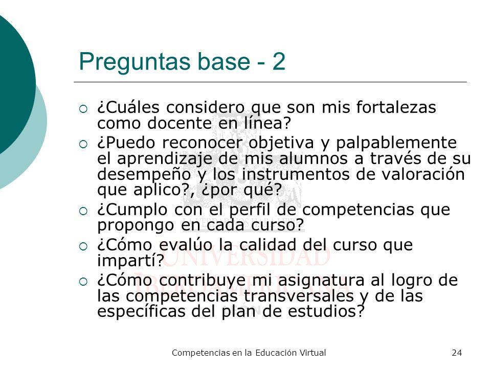 Competencias en la Educación Virtual24 Preguntas base - 2 ¿Cuáles considero que son mis fortalezas como docente en línea? ¿Puedo reconocer objetiva y