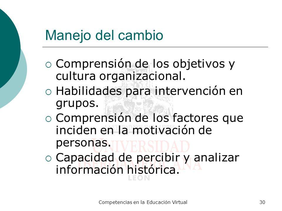 Competencias en la Educación Virtual30 Manejo del cambio Comprensión de los objetivos y cultura organizacional. Habilidades para intervención en grupo