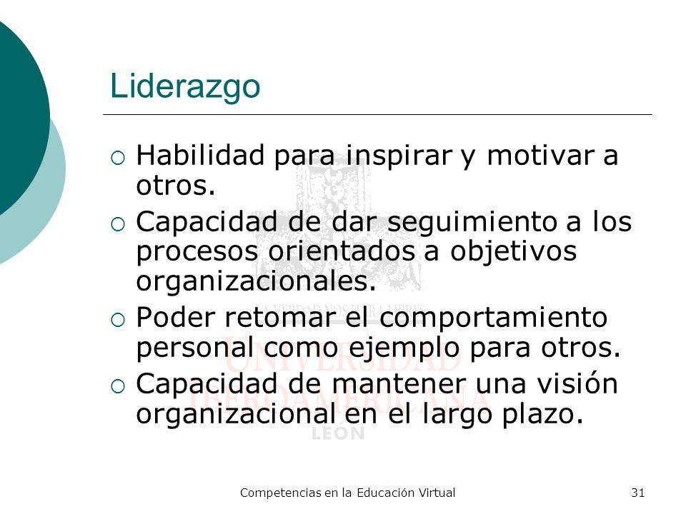 Competencias en la Educación Virtual31 Liderazgo Habilidad para inspirar y motivar a otros. Capacidad de dar seguimiento a los procesos orientados a o
