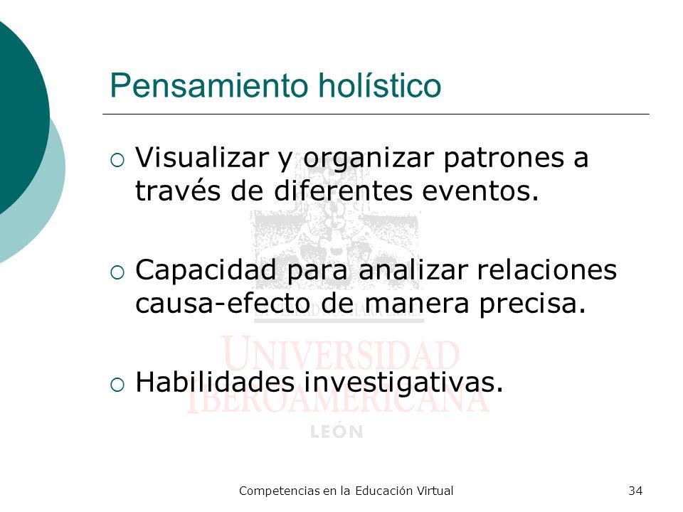 Competencias en la Educación Virtual34 Pensamiento holístico Visualizar y organizar patrones a través de diferentes eventos. Capacidad para analizar r