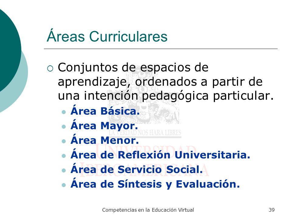 Competencias en la Educación Virtual39 Áreas Curriculares Conjuntos de espacios de aprendizaje, ordenados a partir de una intención pedagógica particu