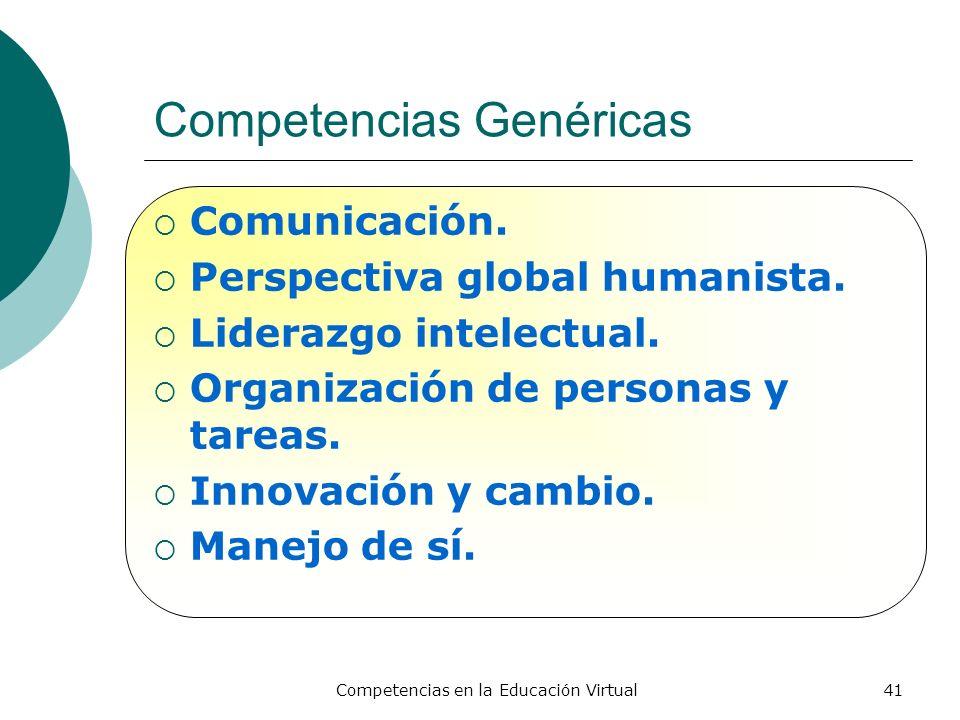 Competencias en la Educación Virtual41 Competencias Genéricas Comunicación. Perspectiva global humanista. Liderazgo intelectual. Organización de perso