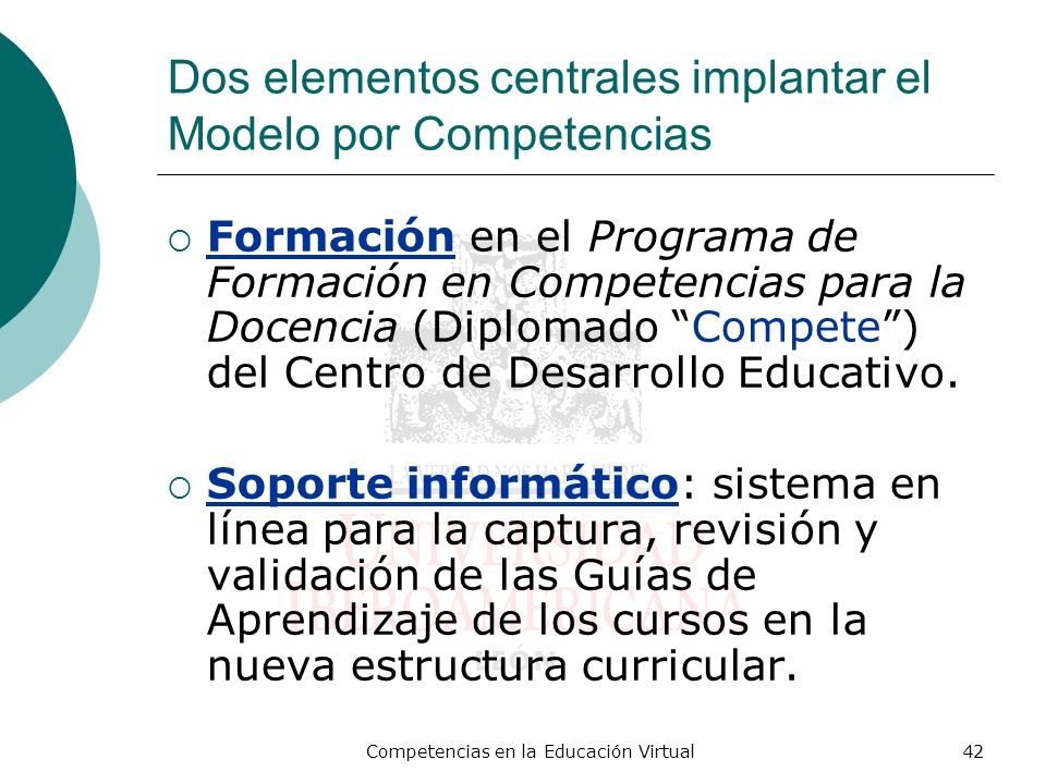 Competencias en la Educación Virtual42 Dos elementos centrales implantar el Modelo por Competencias Formación en el Programa de Formación en Competenc