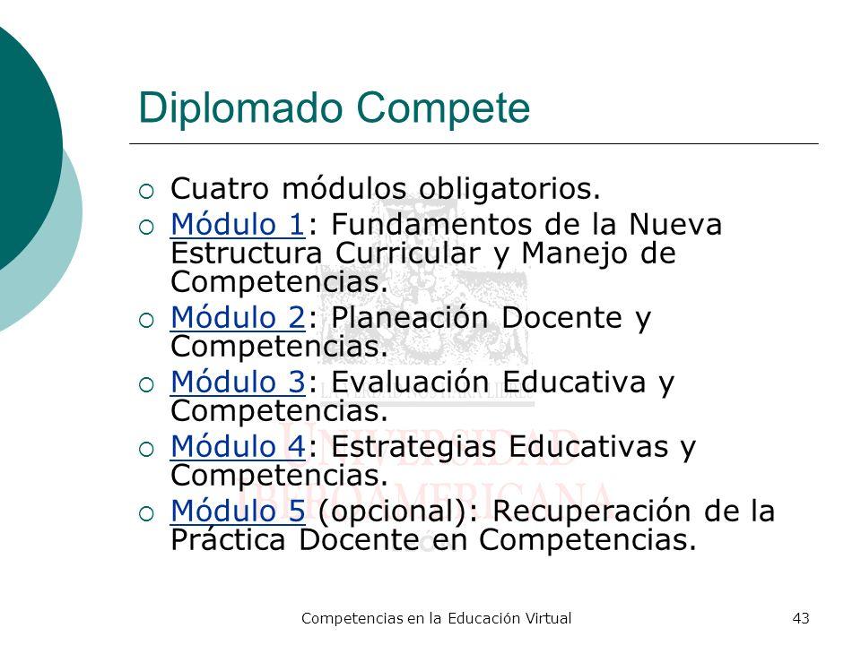 Competencias en la Educación Virtual43 Diplomado Compete Cuatro módulos obligatorios. Módulo 1: Fundamentos de la Nueva Estructura Curricular y Manejo