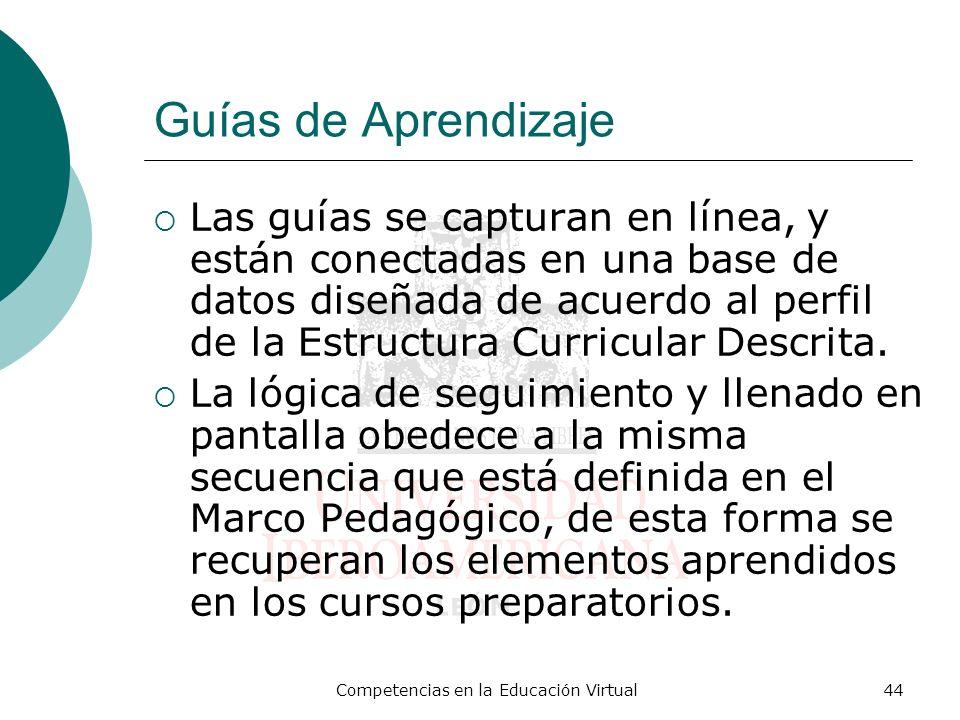 Competencias en la Educación Virtual44 Guías de Aprendizaje Las guías se capturan en línea, y están conectadas en una base de datos diseñada de acuerd