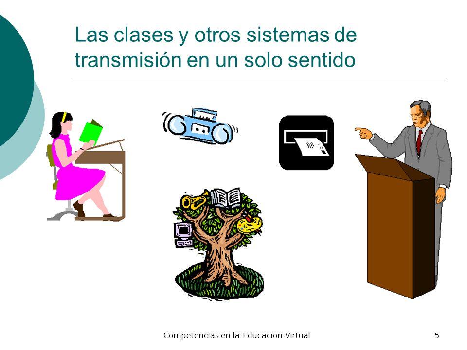 Competencias en la Educación Virtual5 Las clases y otros sistemas de transmisión en un solo sentido