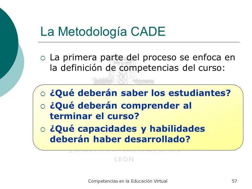 Competencias en la Educación Virtual57 La Metodología CADE La primera parte del proceso se enfoca en la definición de competencias del curso: ¿Qué deb
