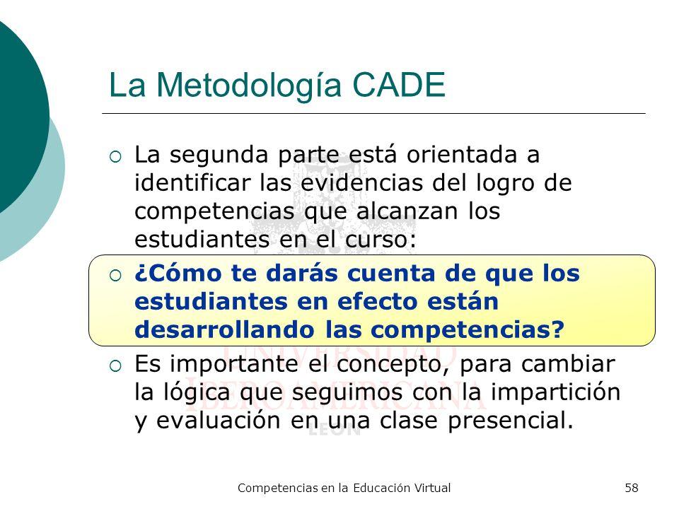 Competencias en la Educación Virtual58 La Metodología CADE La segunda parte está orientada a identificar las evidencias del logro de competencias que