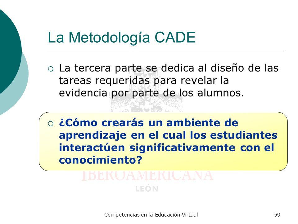 Competencias en la Educación Virtual59 La Metodología CADE La tercera parte se dedica al diseño de las tareas requeridas para revelar la evidencia por